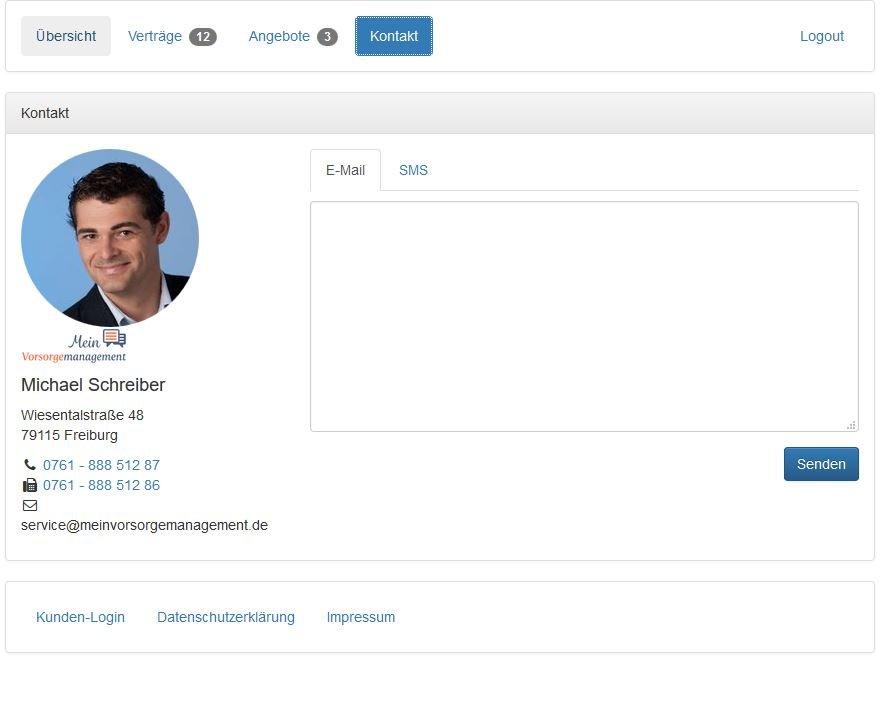 Kontakt aufnehmen zum Versicherungsmakler Kunden-Login