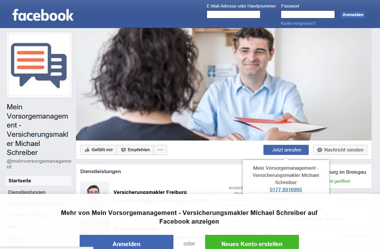 Versicherungsmakler in Freiburg bei Facebook bewerten